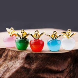 DiamonD apple penDant online shopping - Cat Eye Stone Powder Crystal Pingan Pendant Small Apple Necklace Ornaments Clavicle Dinner Parties Fashion Jewelry bg gg