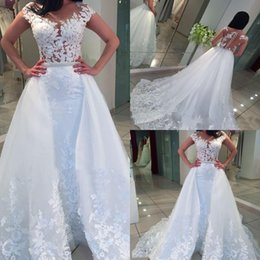 China White Beaded Pearls Mermaid Wedding Dresses with Removable Train Illusion Button Back Appliques Lace Overskirt Bridal Gowns Vestido De Novia supplier removable covers dresses suppliers