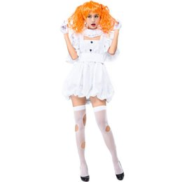 China Teen Girls & Ladies Halloween Horror Dead Wicked Ghost Doll Costume White Fancy Short Dress Masquerade Clothing For Women supplier clothing for teens suppliers