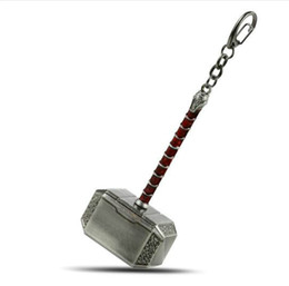 Chinese  Thor Mjolnir Hammer Metal Keychain Mjolnir Figure Key Ring Gold Silver Pendant Men Llavero Jewelry Wholesale manufacturers