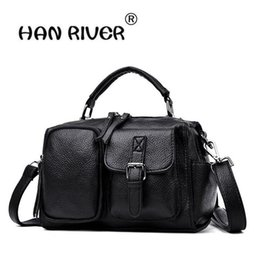 lades hand bags 2019 - HANRIVER 2018 locomotive wind Boston bag new style women's bag fashionable leather hand bill of lading shoulder dis