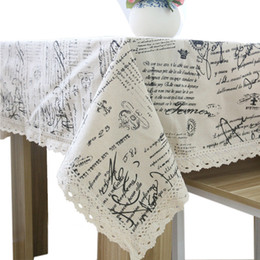 $enCountryForm.capitalKeyWord UK - inen tablecloth Classical Vintage Letter Printed Linen Tablecloth   Table Cover for Picnic or Wedding Coffee Tea Table Cover Placemats To...