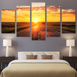 $enCountryForm.capitalKeyWord Australia - Canvas Paintings Living Room Home Decor Framework HD Prints 5 Pieces Sunrise Landscape Pictures Sunset Highway Posters Wall Art