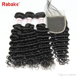 cheap wavy hair extensions remy 2019 - Cheap Remy Brazilian Human Hair Bundles with 4x4 Top Lace Closure Rabake Deep Wave Bundles with Closure Wet and Wavy Hai