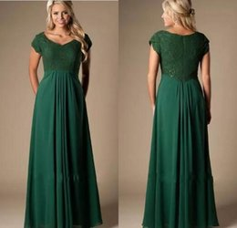 $enCountryForm.capitalKeyWord Australia - Hunter Green Lace Chiffon Modest Bridesmaid Dresses Long With Cap Sleeves Cheap Wedding Party Dresses pregnant Maids of Honor Dresses