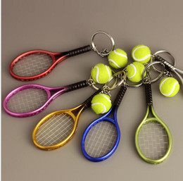 wholesale sports bottle openers UK - Tennis Racket Keychain - Cute Sport Mini Keychain car 6 color Pendant Keyring Sports Key Chain Who love sports Gifts