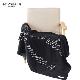 Decorative Throws For Beds UK - XYZLS Cotton English Letters Blanket Multi-function Thread Blanket Decorative Throw for Sofa Bed 90x120cm