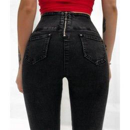 Sexy High Waisted Fashion Pants NZ - Hot Sale Sexy Front Bandage Back Zipper Jeans Womens High Waisted Jeans Skinny Woman Push Up Pencil Jeans Denim Trousers