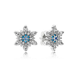 Chinese  Authentic 925 Sterling Silver Blue snowflakes Earring logo Signature with Crystal for Pandora Jewelry Stud Earring Women's Earrings manufacturers