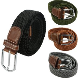 Wholesale Hot male military belt Top quality cm wide Woven Stretch Braided Elastic Leather Buckle luxury canvas belts