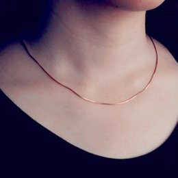Discount only jewelry - Korean Style 2mm Round Snake Chain Necklace Women Rose Gold Color Trendy Jewelry Fine Accessories Jewelry ( Only Chain )