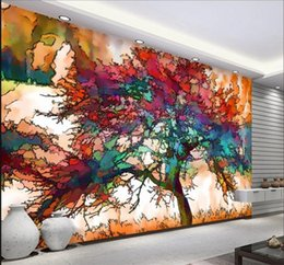 Discount colorful tree wall art - 3D Wallpaper Modern Abstract Art Colorful Tree Photo Wall Mural Restaurant Cafe Bar Mural Wallpaper Creative Decor Papel