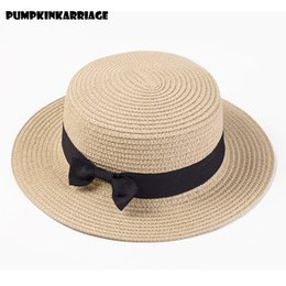 90d82b3ac8f 2018 Boater Sun Caps Ribbon Round Flat Top Straw Beach Hat Panama Hat  Summer Hats For Women straw hat snapback gorras