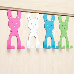 back clothing Australia - Cartoon Design Door Back Hook Bag Rack Creative Cute Nail-Free Door Hanger Clothes Hanger