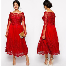 1df466908d1 Stunning Red Tea Length Evening Dresses Long Sleeves Off Shoulder Lace  Appliqued A-Line Prom Gowns A-line Mother Of The Bride Dress