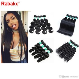 Discount wholesale straight human hair weave - 8A Brazilian Straight Virgin Hair 4 Bundles 8-28 inch Raw Indian Malaysian Peruvian Body Wave Deep Wave Human Hair Weave
