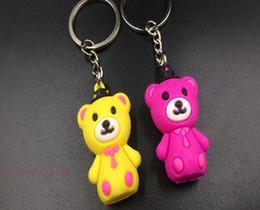 $enCountryForm.capitalKeyWord NZ - 100Pcs lot PVC soft gelatin cute cartoon teddy bear brown bear big bear cubs doll key chain ring pendant small gift