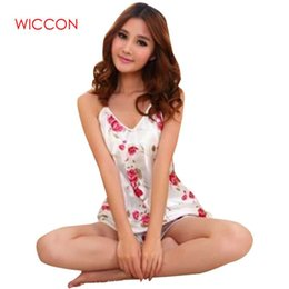 843021842d braces pajamas 2019 - WICCON Sexy Flower Printed Sleepwear Braces Shirts  Shorts Underwear Pajamas Set for