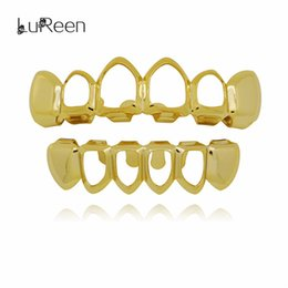 Discount black gold filled jewelry - Lureen Hip Hop Hollow Out Gold Teeth Grills Dental Top &Bottom Grills Fashion Halloween Party Vampire Teeth Caps Jewelry