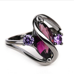 Chinese  Hot Fashion Luxury Vintage Purple Zircon Crystal Colorful Rings For Women Wedding Jewelry stainless steel rings manufacturers