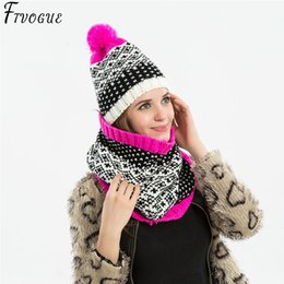 2de36f48 Fashion Winter Hat&Scarf Set For Women Girls Warm Beanies Ring Scarf  Pompoms Winter Hats Knitted Caps And Scarf 2 Pieces Set