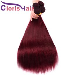 99j red straight human hair 2021 - 99J Malaysian Virgin Weave Burgundy Silky Straight Mink Human Hair Bundles 3pcs Colored Wine Red Sew In Hair Extensions Deals