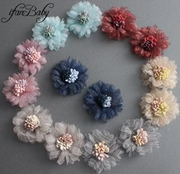 Fabric Hair Brooches Australia - Kids girl unfinished hair flower accessories craft flower Organza Stamen fabric hair flower for hair tie brooch flat back top quality