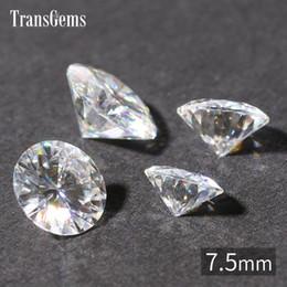 Carat Round NZ - Wholesale- TransGems 7.5mm 1.5 Carat Certified EF Colorless Moissanite Loose Lab Diamond Gemstone Test as Real Diamond Round Brilliant Gem