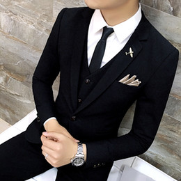 Wedding Dresses Youth Canada - Suit suit men are fitting Korean version of the three sets of men's youth leisure groom wedding dress tide
