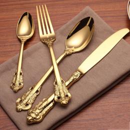 Vente en gros Couverts de coutellerie en or style rétro Ensemble de vaisselle en acier inoxydable de 5 pièces couteau fourchette cuillère fourchette à dessert thé cuillère vaisselle