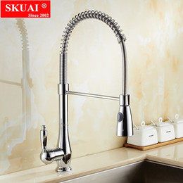 Single Hole Pull Down Kitchen Faucet Australia - Spring Kitchen Faucet Swivel Spout Tap Pull Out Spray Sink Chrome With Push Button Pull Down Faucets Including Accessories