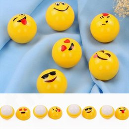 Yellow Lips Australia - Yellow Ball Lip balm QQ Expression Spherical Lipstick Lasting Moist Orange Taste Lipstick Ball Emoji Lip Balm T7F003