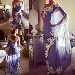 Indian High Neck Gowns NZ - 2018 Lavender Saudi Arabic Evening Dresses One Shoulder Appliques Chiffon Indian Dubai Women Formal Evening Gowns Sexy Long Prom Dresses