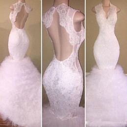 $enCountryForm.capitalKeyWord Australia - Gorgeous White Lace Prom Dresses 2018 Deep V Neck Open Sexy Back Mermaid Evening Dress Puffy Tutu Tulle Sweep Train Formal Party Dress