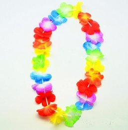 Party Supply Leis UK - 500pcs lot Hawaiian leis Party Supplies Garland Necklace Colorful Fancy Dress Party Hawaii Beach Fun