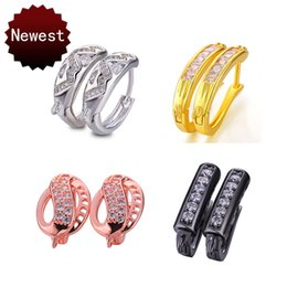 $enCountryForm.capitalKeyWord NZ - Wholesale Ear Cuff Fashion Copper Zircon Rhinestone Hoop Earrings Accessories Clasps CZ Rhinestone DIY Findings for Jewelry Making