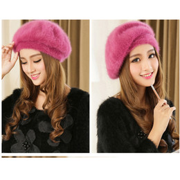 White Rabbit Hair Australia - Korea Style Female Cute Fur wholesale sable beret qiu dong female knitting rabbit hair fashion hat