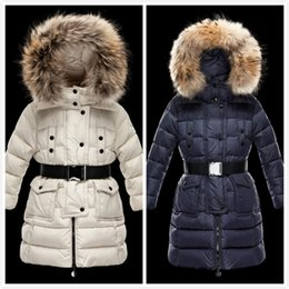 jacket hat baby 2018 - New Famous Brand Kids Waistband Long Down Jackets Child down coats Girl Outdoor Windproof Feather coats Baby girl Thick