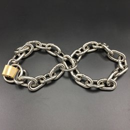 bdsm chain restraints 2019 - Multipurpose Chain With Lock Size Adjustable Handcuffs Stainless Steel Bondage Restraint Adult Sex Toys BDSM Game Access