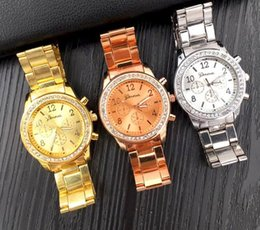 geneva three eyes watch UK - new woman watches three eyes set auger alloy in Geneva watches female section steel belt leisure accessories wholesale watches