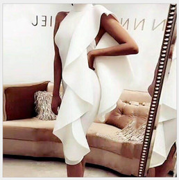 White dress shorts Women online shopping - Flounce One Shoulder Form Fitting Dress New Sleeveless Zipper Bodycon Short Dress Ruffle Plain Woman Dress