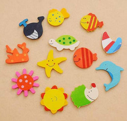 small magnets free shipping Australia - 1800pcs lot Home Decorations Lovely different cartoon Animal Wooden Fridge Magnet fridge stickers free shipping
