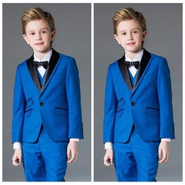 Handsome Kids Suits Australia - Boys Suits for Wedding Celebration Blue Formal Costume for Kids Children's Classic Handsome Blazer (Jacket+Pants+Vest)Set