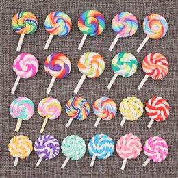polymer charm wholesale Canada - 28*39MM Miniature craft Soft ceramics polymer clay rainbow lollipop charms mobile phone Japanese fake simulated food DIY jewelry