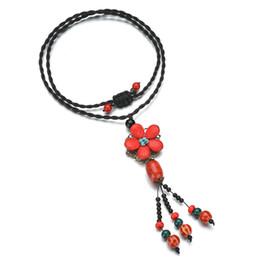 $enCountryForm.capitalKeyWord NZ - Handmade Nepal Necklace Buddhist Mala Wood Beads Pendant & Necklace Ethnic Red Flower Long Statement Jewelry Women Girl