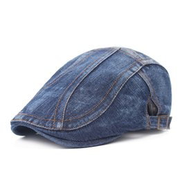 Wholesale Classic Retro Style Denim Beret Spring summer Womens Mens Fitted Beret Buckle Flat Caps