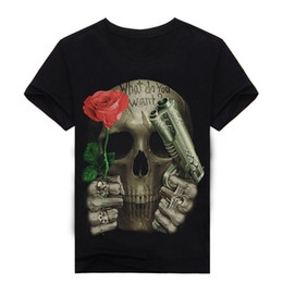 White Shirts Styles Designs For Men Australia - 3D Printed Skull Floral T-shirt for men Newest Fashion Designed Tees Tops Punk Rock Style Cotton Man t shirt Plus Size,YK UNCLE
