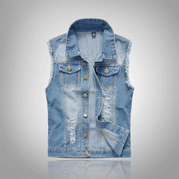 China Men Vest Waistcoat Denim Jacket Sleeveless Hole Ripped Vest Spring Summer Coats New Arrival 2018 S-6XL Big Size Light Blue cheap men s sleeveless jackets suppliers
