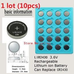 Li Button Cell Australia - 10pcs 1 lot LIR2430 3.6V Lithium li ion rechargeable button cell battery 2430 3.6 Volt li-ion coin batteries replace CR2430 Free Shipping