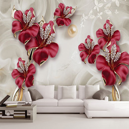 3d stereo sound 2019 - Custom 3D Photo Wallpaper Beautiful Stereo Jewelry Flower TV Wall Mural Living Room Bedroom Non-woven Mural Waterproof W